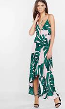 new EXPRESS palm leaf print maxi pink vacation getaway dress 12 L large