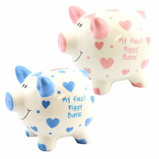 """My First Piggy Bank"" MINI Money Box White with Hearts - Pink or Blue"