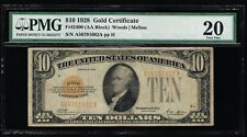 AFFORDABLE GENUINE FR #2400 1928 $10 GOLD CERTIFICATE PMG VF 20 WOODS MELLON