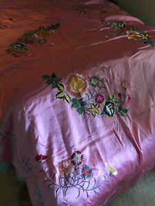 Vintage pink floral embroidered silky satin bedspread 78x104