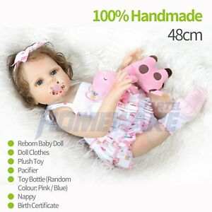 19 Inch Reborn Lifelike Baby Girl Doll Newborn Silicone Vinyl Christmas Gift Toy