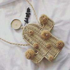 Cactus Rattan Bag straw Summer bags pom pom women shoulder handmade Totes New
