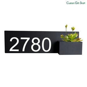 House Number Planter Box Address Planter Box Black Metal Sign Plaque