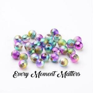 100 x RAINBOW STARDUST ACRYLIC ROUND BEADS Bubblegum Beads 6mm