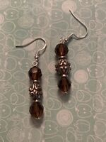 Brighton UTOPIA AMBER Brown Sparkle Dangle Bead Custom .925 Silver Earrings