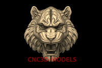 3D Model for CNC Router STL File Artcam Aspire Vcarve tiger head animal PK120