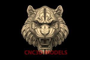 3D Model for CNC Router STL File Artcam Aspire Vcarve tiger head animal PK120