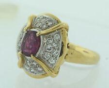 Exquisite Vintage 1 Carat + Ruby & 24 Diamonds 18k Gold Ring