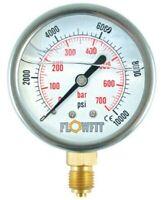 "100mm Rempli de Glycérine Hydraulique Pression Jauge 0-400 Psi (28 Barre ) 1/2 """
