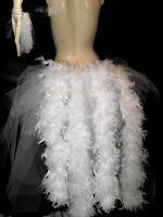 Big white Swan Burlesque Slashed Layer Feathers Hen Bustle Belt  Train  8 24