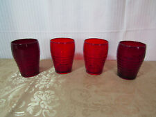Vintage 4 Pc Ruby Red Glass Drinking Glasses