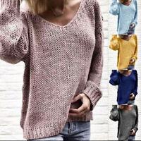 Women Knitted Long Sleeves Loose Blouse Pullover V-neck Oversized Sweater Tops