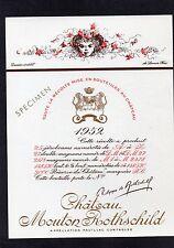 PAUILLAC 1ERGCC ETIQUETTE CHATEAU MOUTON ROTHSCHILD 1952 75CL DECOREE §08/06/16§
