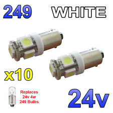 10 x White 24v LED Side Light 249 BA9s T4W 5 SMD Bayonet Bright Bulbs HGV Truck