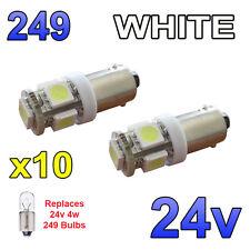 10 x White 24v LED Side Light 249 BA9s T4W 5 SMD Bayonet Bright Bulbs HGV Truck