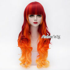 Lolita Red Mix Yellow Long 75CM Curly Fashion Party Women Cosplay Wig + Wig Cap