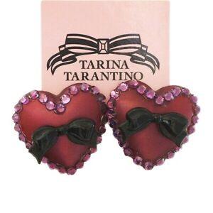 Tarina Tarantino Puff Heart & Bows Burgundy Lucite Purple Crystals Post Earrings