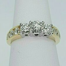 Beautiful Leo Schachter Diamond Three Stone engagement Ring With Accent Diamonds