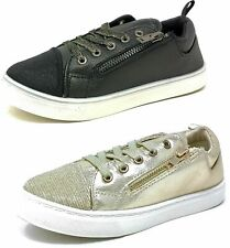 Kids Childrens Girls Black Gold Trainers Shiny Pumps Size 9-3