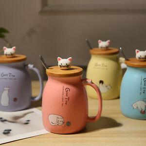 """Good Time"" Ceramic Mug Cups with Lid Spoon Cute Cat Tea Milk Coffee Drinkware"