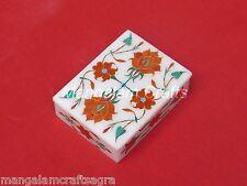 Marble Jewelry Box Semi Precious Stone Pietra Dura Handmade Home Decor Gift