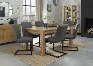 Blake Light Oak 6-8 Seater Dining Table & 6 Lewis Distressed Dark Grey Fabric Ca