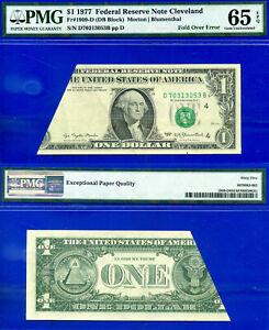 Wanted Error - 1977 $1 FRN (( Fold Over Error )) PMG Gem-65EPQ # D70313053B-
