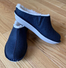 Women's Cloudsteppers By Clarks Step Flow Clog Faux Fur Lined Sz 6 New Blue Gray