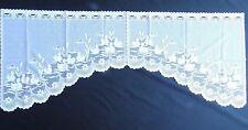 """weiße C Bogen  Scheibengardine.""""Enten"""" Kurzgardine 60 x 150 cm"""