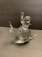 RARE VTG Murano Glass Baby Snail Riding On The Top Of Its Mamma's Back Figurine