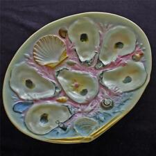 Antique UPW (Union Porcelain Works) Oyster Plate, Large Clam Shell, Gray & Pink
