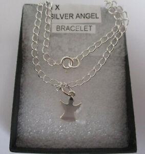 New 925 sterling silver Angel pendant charm bracelet 19cm in box.