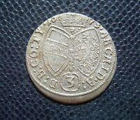 AUSTRIA / SILVER 3 KREUZER / LEOPOLD I. / 1673