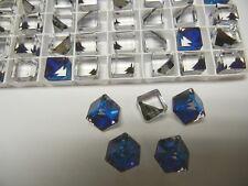 12 new swarovski crystal 3/4 flatback cubes,10mm bermuda blue Z #4841