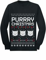 Purrry Christmas Ugly Sweater Cute Cats Toddler/Kids Long sleeve T-Shirt Cute