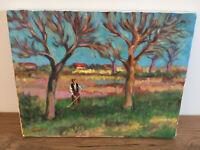 tableau ancien huile sur toile R POIRAUD ROS (XXe-s) fermier