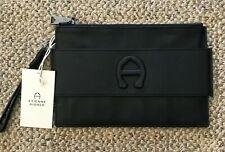 Etienne Aigner Black Adeline Handle Wristlet 100% Leather A Logo