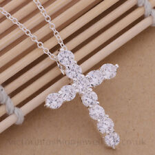 Crystal Cross Necklace, 925 Sterling Silver Plate Crucifix Pendant Jesus Easter