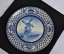 "7"" Delicate Hand Painted German Delft Porcelain Wall Plate Windmill Scene"