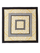 """Authentic $330 Versace Collection Black Gold Tile Print Silk 36"""" Scarf Italy"""