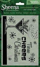 "SALE New Sheena Douglass Christmas Embossing Folder 5x7""  Three Cheers"