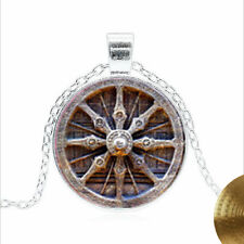 Dharma Wheel Chakra Tibet silver Glass dome Necklace chain Pendant Wholesale