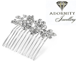 Ladies Flower design shiny silver colour crystal wire hair comb wedding UK