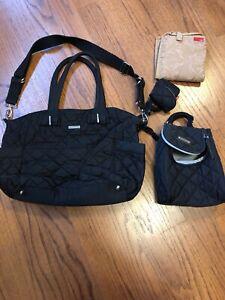 Storksak Bobby Black Diaper Bag, Baby Changing Mat Insulated Bottle Bag
