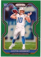 JUSTIN HERBERT 2020 Panini Prizm GREEN Refractor Rookie Card RC #325 LA Chargers