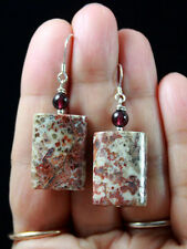 V.PRETTY WHITE RED MEXICAN CRAZY LACE AGATE & GARNET STERLING SILVER EARRINGS