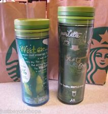 Starbucks Coffee 2009 Set of 2 Green 28% Recycled Travel Tumblers 16 oz + 20 oz