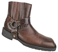 Kenneth Cole Reaction Motorcycle Harness Chelsea Boots Brown Leather Mens Sz 11