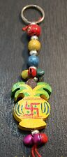 Kalash Swastik Key ring chain holder wooden hand carved Bag charm Hindu Ganesh