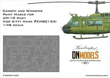 Paint Masks UH-1D Huey Helicopter 1/48 Canopy & Windows for Kitty Hawk #80154